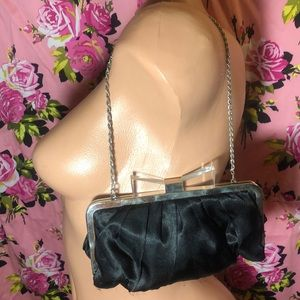 Retro clutch purse black satin bow pinup 50's